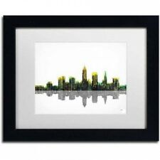 """Marlene Watson """"Cleveland Ohio Skyline"""" Matted Framed Art. Delivery is Free"""