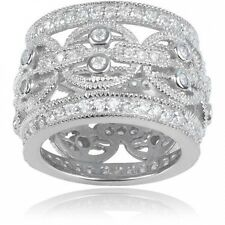 Alexandria Collection Women's Round-Cut CZ Sterling Silver Wide Engagement Ring.
