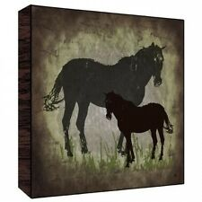 Green Leaf Art Vintage Horses Wall Art on Wood. Free Delivery
