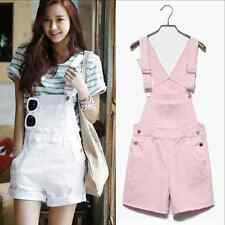 Women Girl Washed Jeans Denim Casual Hole Jumpsuit Romper Overalls Short E160S