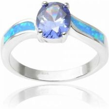 Brinley Co. Women's Oval Cut CZ Opal Sterling Silver Fashion Ring. Delivery is F