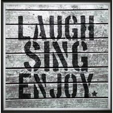 Green Leaf Art Laugh Sing Enjoy Framed Painting Print. Huge Saving
