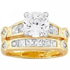 Two-Tone Round and Square CZ Wedding Ring Set, 2-Piece. Free Shipping