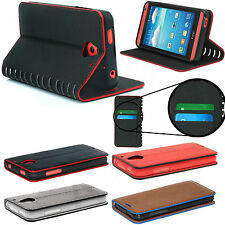 Luxury Leather Stand Stylish Wallet Card Case Cover +Free Tempered Glass Phone