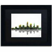 "Marlene Watson ""Cleveland Ohio Skyline"" Matted Framed Art. Delivery is Free"