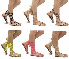 NEW Wrap Around Sandal Womens Lace-Up Criss Cross Leg Ties Thong Roman Gladiator