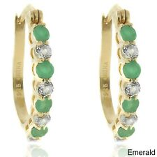 Dolce Giavonna 18k Gold over Silver Gemstone and White Topaz Hoop Earrings. Ship