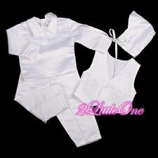 4 Pcs White Baby Boy Satin Baptism Christening Long Suit Bonnet Sz 0-12m ST020