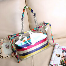 6962 New Fashion Women's Transparent Tote Beach Bag Clear Jelly Candy Handbag