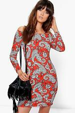 Boohoo Womens Pia Paisley Off Shoulder Long Sleeve Bodycon Dress in Orange size