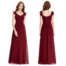 Sexy V-Neck Formal Evening Party Cocktail Dress Long Bridesmaid Prom Ball Gown