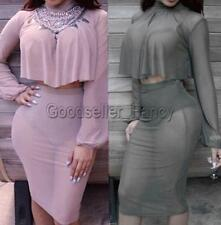 Sexy Women Long Sleeve Two-piece Cape Sets Skirt Slim Party Bodycon Club Dress