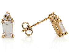10k / 14k Yellow Gold White CZ Petite Regal Earrings