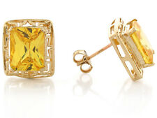 10k / 14k Yellow Gold Simulated Citrine Elegant November Birthstone Earrings