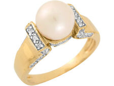 10k / 14k Two Tone Gold Freshwater Cultured Pearl White CZ Lovely Ladies Ring