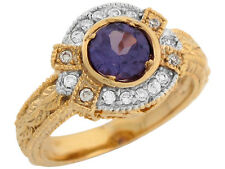 10k / 14k Two Tone Gold Simulated Alexandrite White CZ Vintage Style Ladies Ring