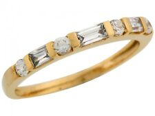 10k / 14k Yellow Gold Beautiful Round and Baguette CZ Fashion Wedding Band Ring