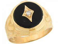 10k / 14k Real Yellow Gold White CZ Round Onyx Handsome Mens Ring