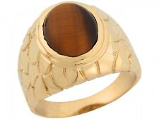 10k / 14k Yellow Gold Synthetic Tigers Eye Rich Thick Nugget Band Mens Ring