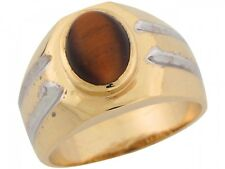 10k / 14k Two Tone Real Gold Synthetic Tigers Eye Contemporary Sleek Mens Ring