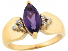 10k / 14k Yellow Gold Amethyst Marquise Diamond Accents Ladies Ring