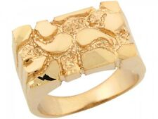 10k / 14k Solid Yellow Gold Sparkling Rectangular Design Mens Nugget Ring