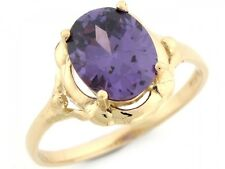 10k / 14k Real Gold Simulated Amethyst 2.9ct Solitaire Antique Inspired Ring