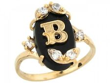 10k / 14k Real Yellow Gold Onyx Letter Binitial with CZ Accents Ring