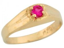 10k / 14k Yellow Gold Simulated Ruby July Birthstone Cute Baby Ring