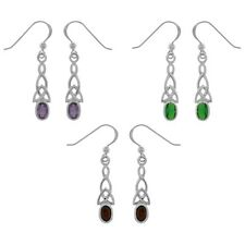 CGC Sterling Silver Gemstone Celtic Trinity Knot Dangle Earrings. Delivery is Fr