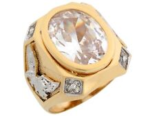 10k / 14k Two Tone Solid Gold 15.96ct White Oval CZ Eagle Accents Bold Mens Ring