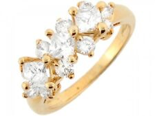 10k / 14k Solid Yellow Gold White CZ Floral Fancy Elegant Ladies Ring