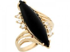 10k / 14k Real Yellow Gold Marquise Onyx with CZ Accent Ring