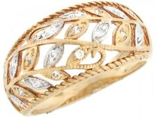 10k / 14k Two Tone Real Solid Gold Leaf Filigree CZ Dome Band Ring