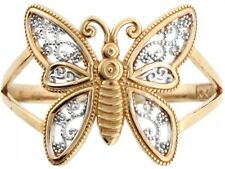 10k / 14k Two Tone Real Gold Filigree Butterfly Ring