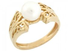 10k / 14k Solid Yellow Gold Freshwater Cultured Pearl Filigree Ring Jewelry