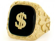 10k / 14k Solid Yellow Gold Nugget Dollar Onyx Mens Ring