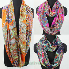 Tribal Pattern Vintage Scarf Chiffon Scarf Circle Loop Infinity Scarf Snood New