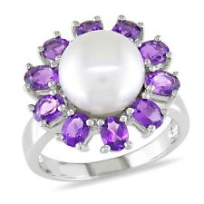 Miadora Signature Collection 14k White Gold Cultured Freshwater Pearl and Amethy