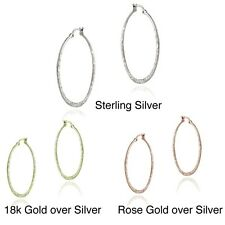 Mondevio Sterling Silver 25-mm Hammered Hoop Earrings. Shipping is Free