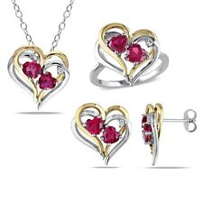 Miadora Sterling Silver Created Ruby and 1/10ct TDW Diamond Heart Earrings, Ring