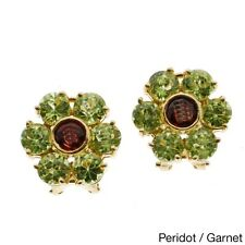 Kabella 14k Yellow Gold Precious Gemstone Flower Design Earrings. Delivery is Fr