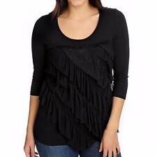 One World Stretch Knit 3/4 Sleeved Ruffle Front Scoop Neck Top NWOT