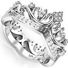 Elegant Sterling Silver 925 Cubic Zirconia Tiara Princess Crown CZ Band Rings