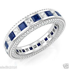 Sterling Silver 925 Princess Cut Blue & White Cubic Zirconia CZ Eternity Ring