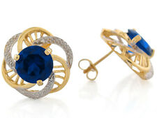 10k / 14k Two-Tone Gold Simulated Blue Sapphire September Birthstone Earrings