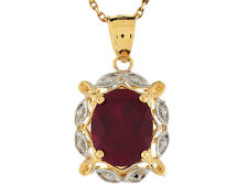 10k / 14k Two-Tone Gold Simulated Garnet Lovely January Birthstone Pendant