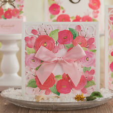 Custom Print Laser Cut-out Pink Bow Flowers Wedding Invitation Cards & Envelopes