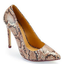 WOMENS LADIES GOLD NUDE POINTED COURT STILETTO HIGH HEELS SHOES SNAKE SKIN SIZE
