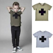 Toddler Newborn Kids Baby Boy Summer Cotton Sleeve T-shirt Tops Tee Clothes 0-4T